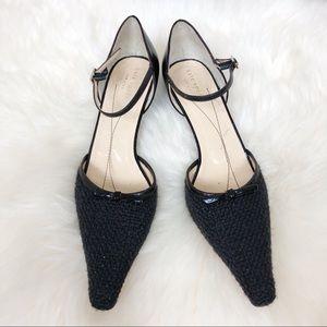 Kate Spade Mary Jane Bow Kitten Heels Wool Sz 7.5